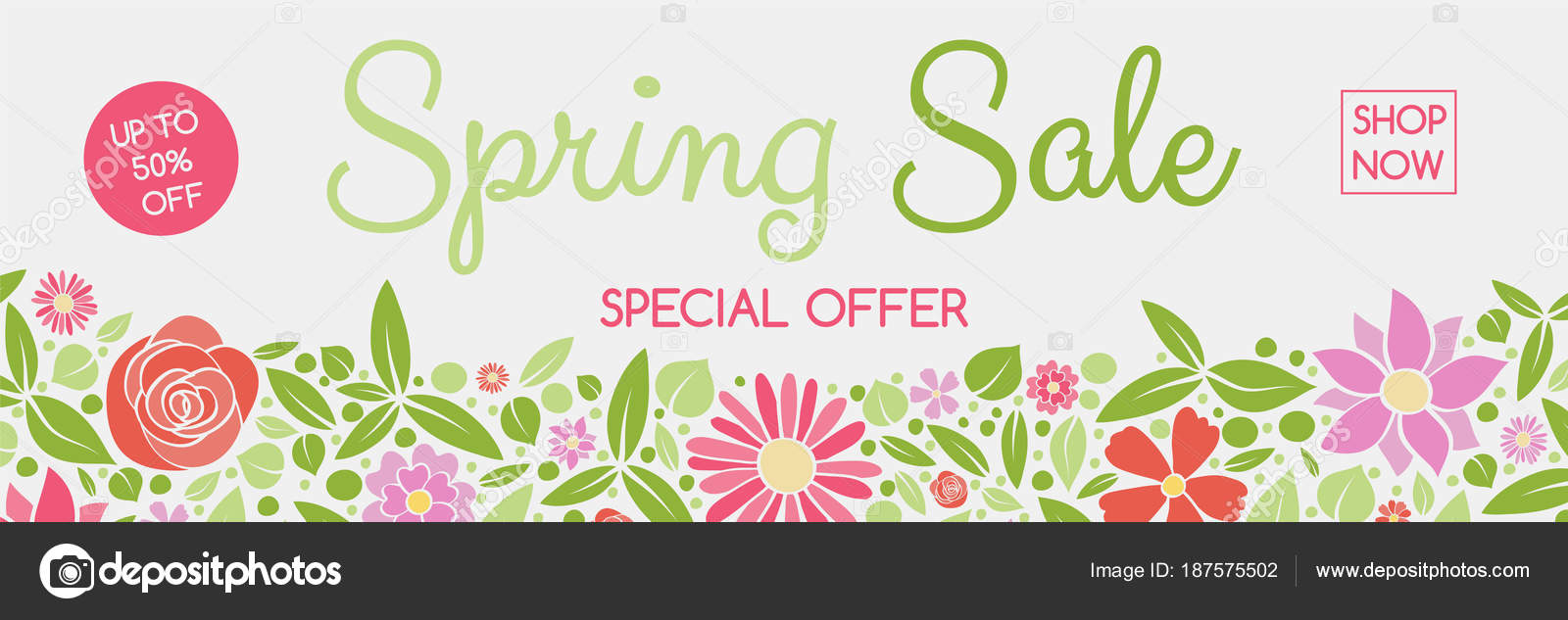 Concept Header Colorful Flowers Spring Sale Vector Stock Vector