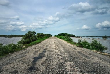 Old asphalt road leading through swamps with cloudy sky in backg