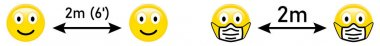 Social distancing emoji - two smiling faces icons with arrow and 2m / 6 feet text above. Coronavirus covid-19 outbreak prevention sign