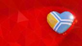 Republic of Tuva national flag 3D heart background. 3D illustrat