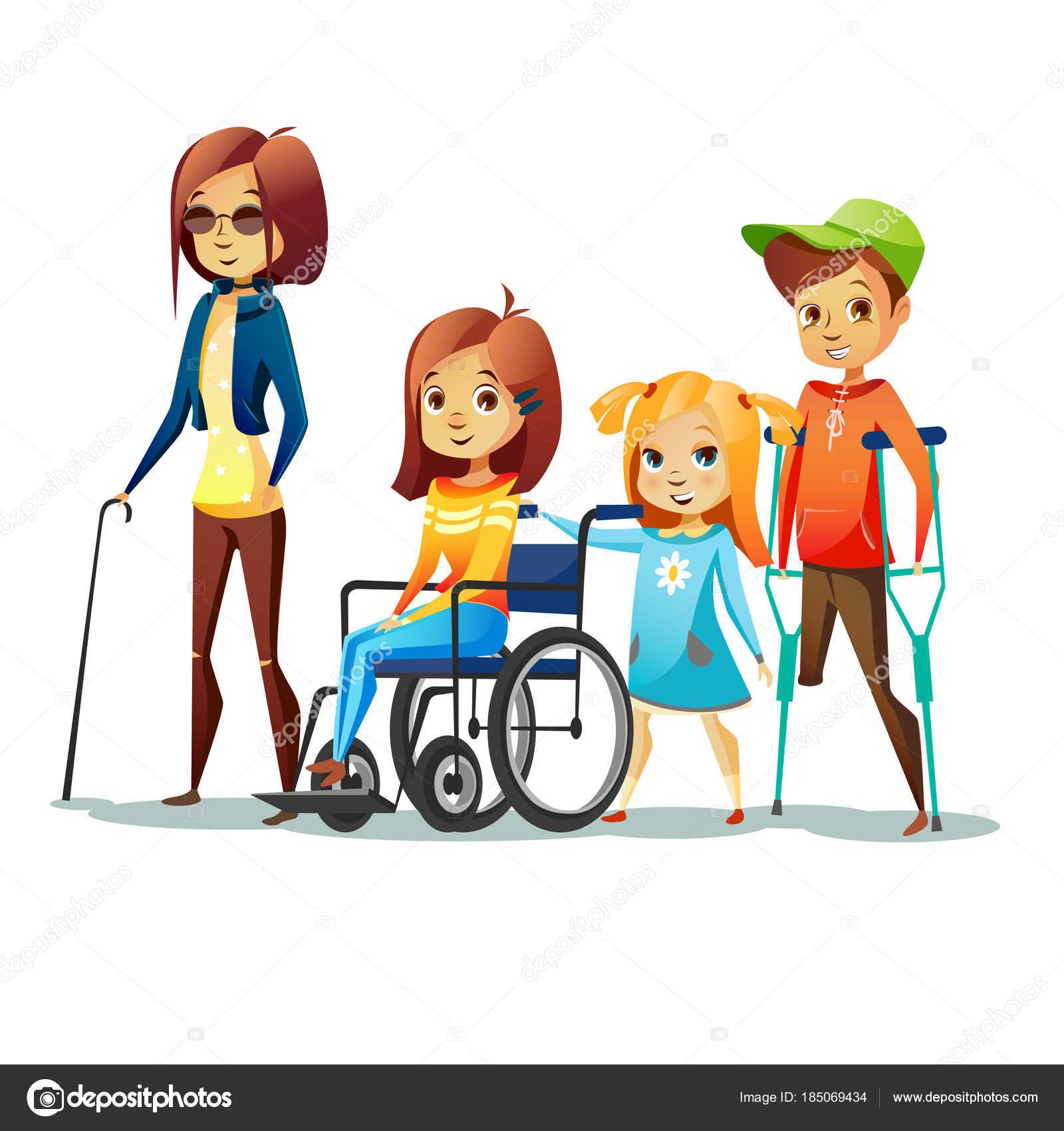 障害児ベクトル車椅子や松葉杖での少年の無効と盲目の少女のイラスト