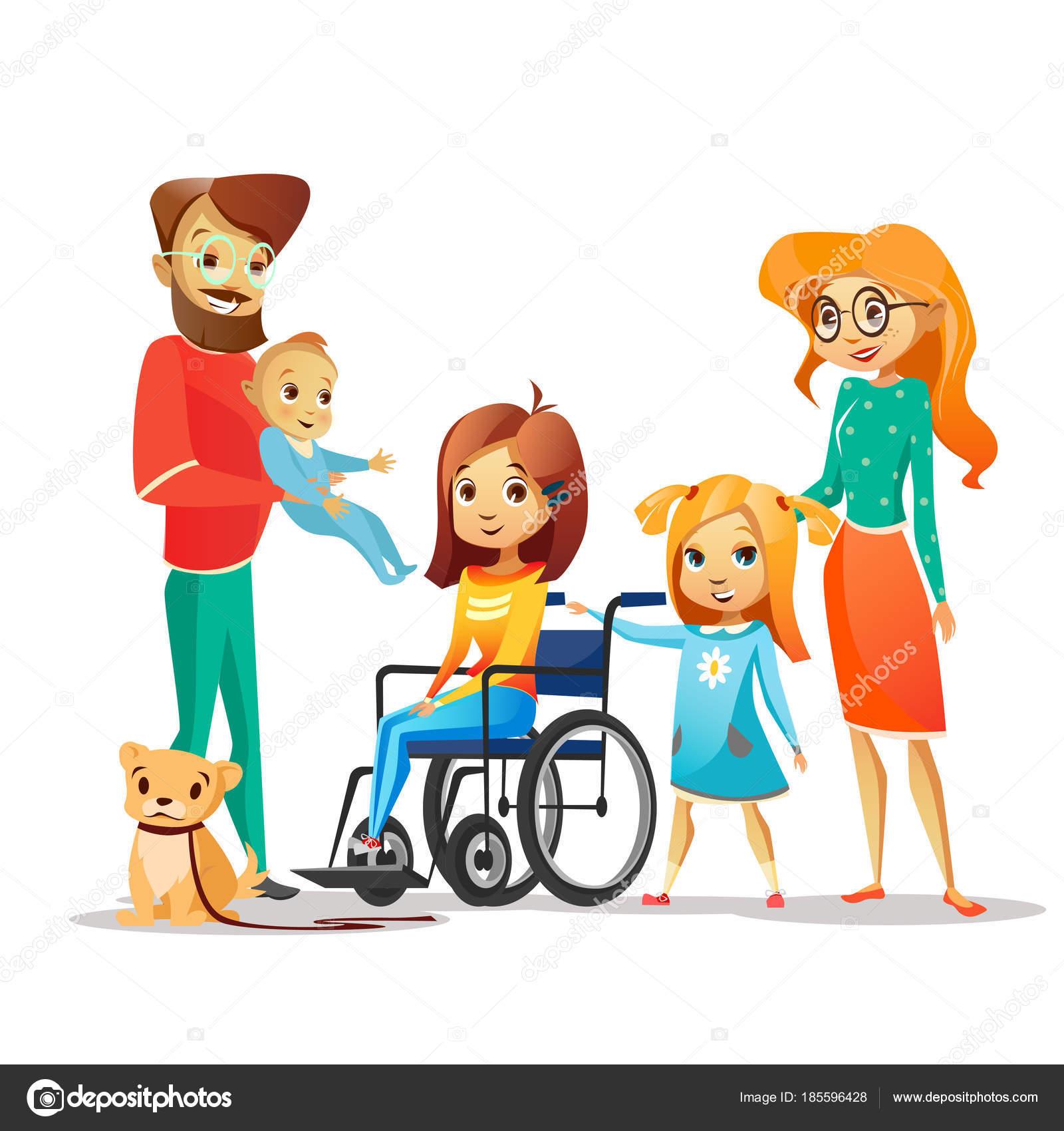 Famille Et L Enfant Handicapé Vector Illustration D Une
