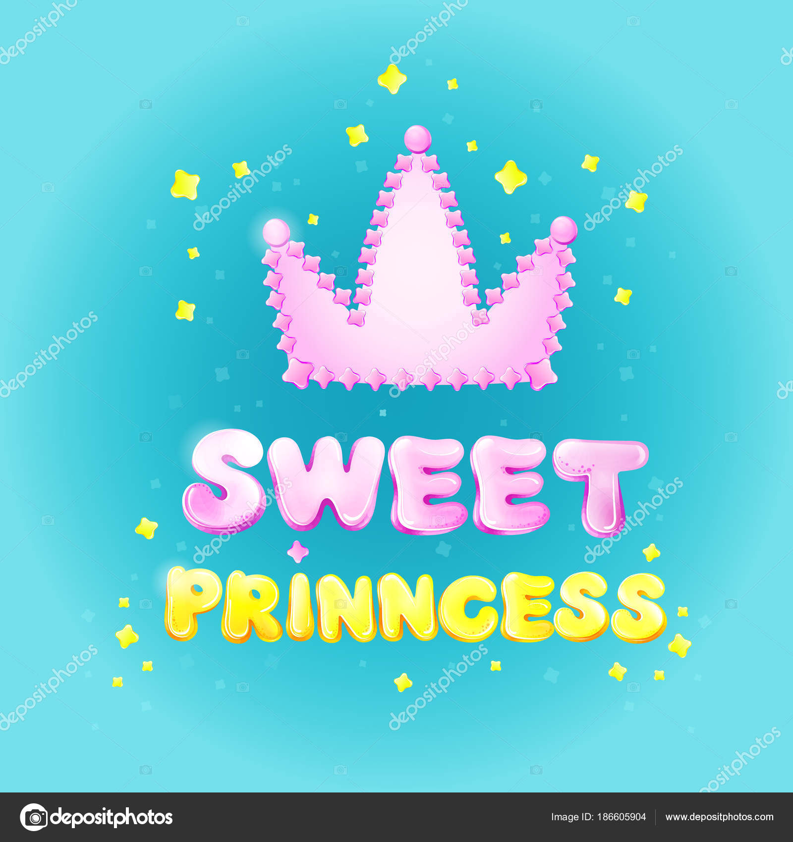 Sweet princess birthday greeting card vector illustration cartoon sweet princess birthday greeting or invitation card vector illustration for girl holiday or party celebration pink princess crown and golden stars confetti stopboris Choice Image
