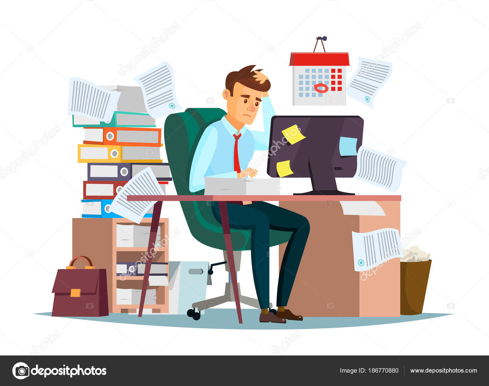 Man Overwork In Office Vector Illustration Of Cartoon Manager
