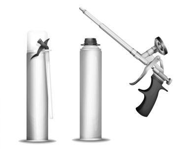 Construction foam bottle vector illustration of 3D isolated realistic PU foam sprayer gun mockup model