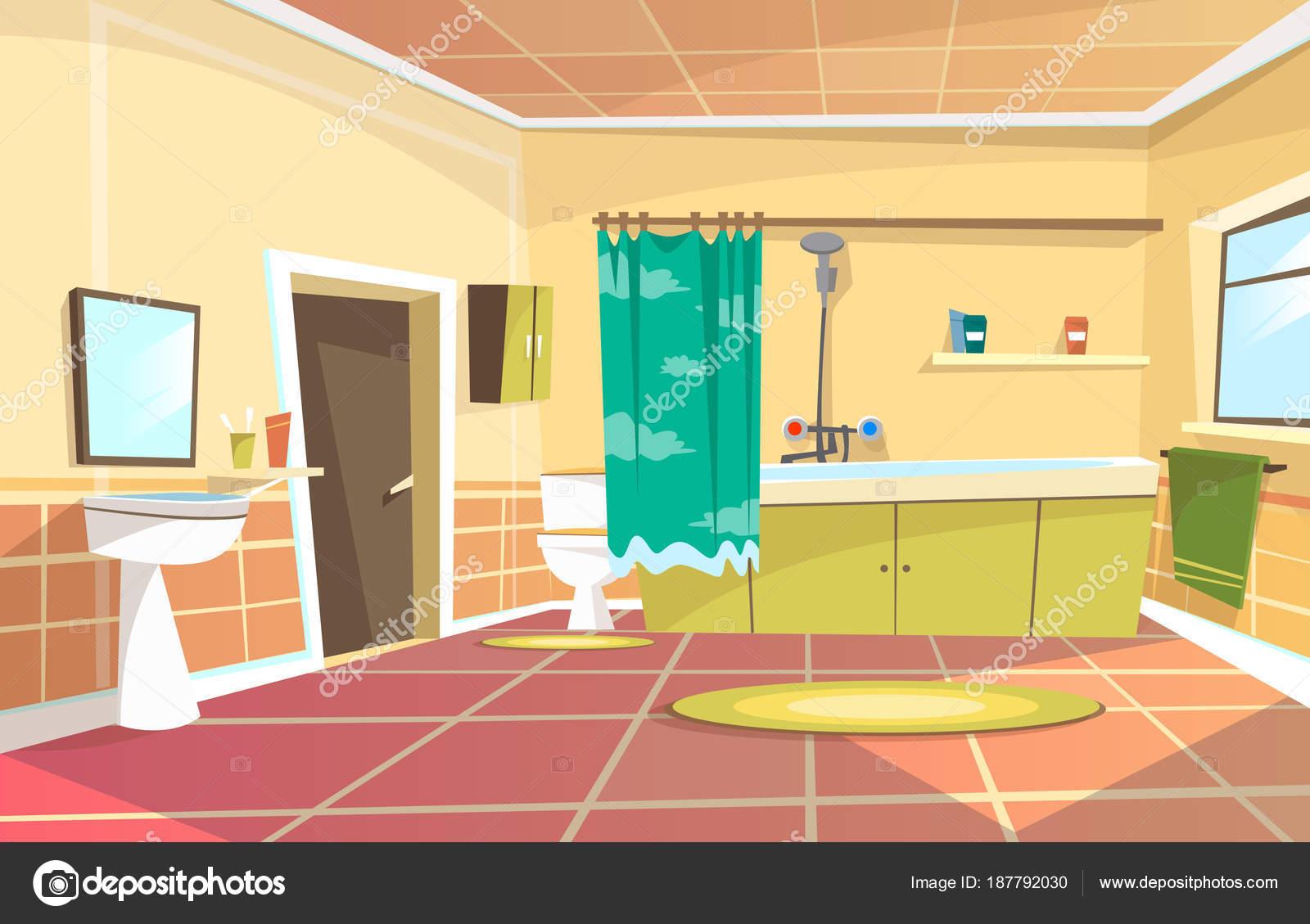 Cartoon bathroom door | Vector cartoon bathroom interior ...