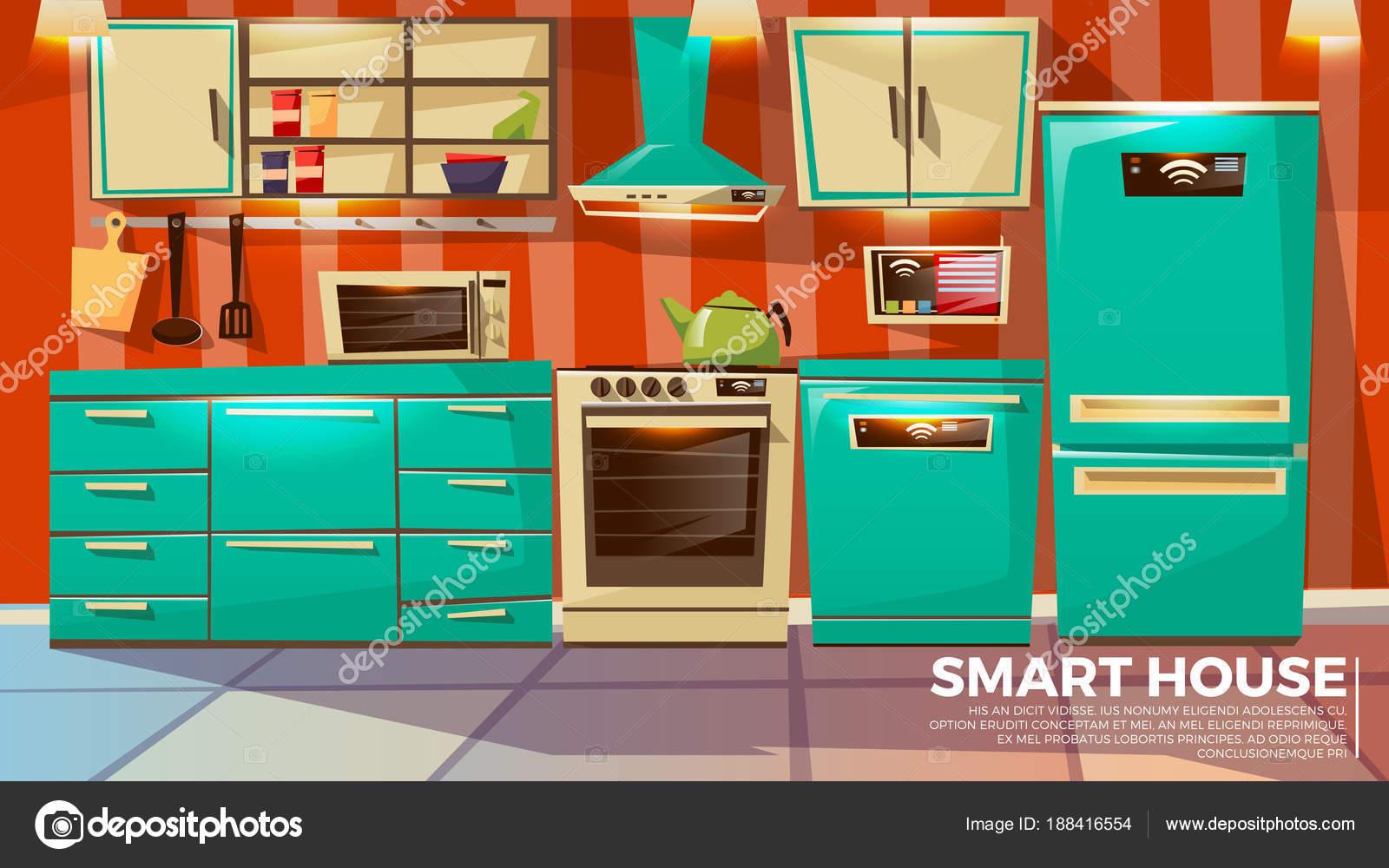 Modern smart kitchen interior — Stock Vector © vectorpouch #188416554