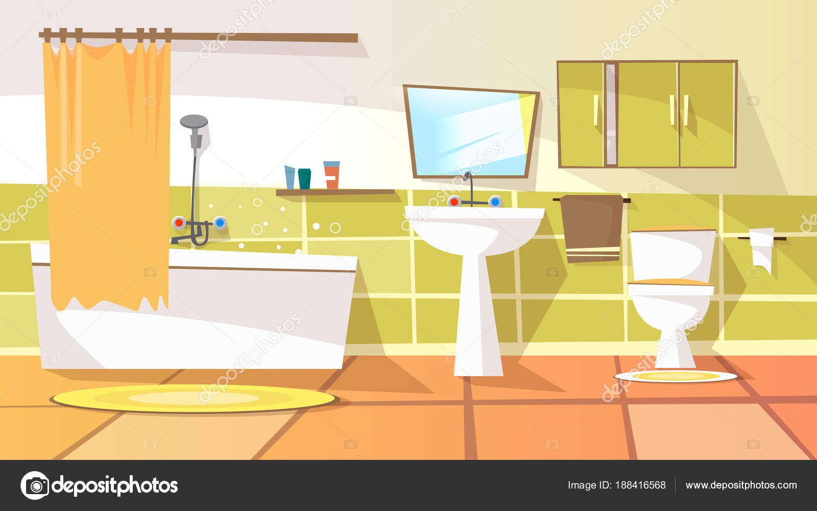 Vector Cartoon Bathroom Interior Background Stock