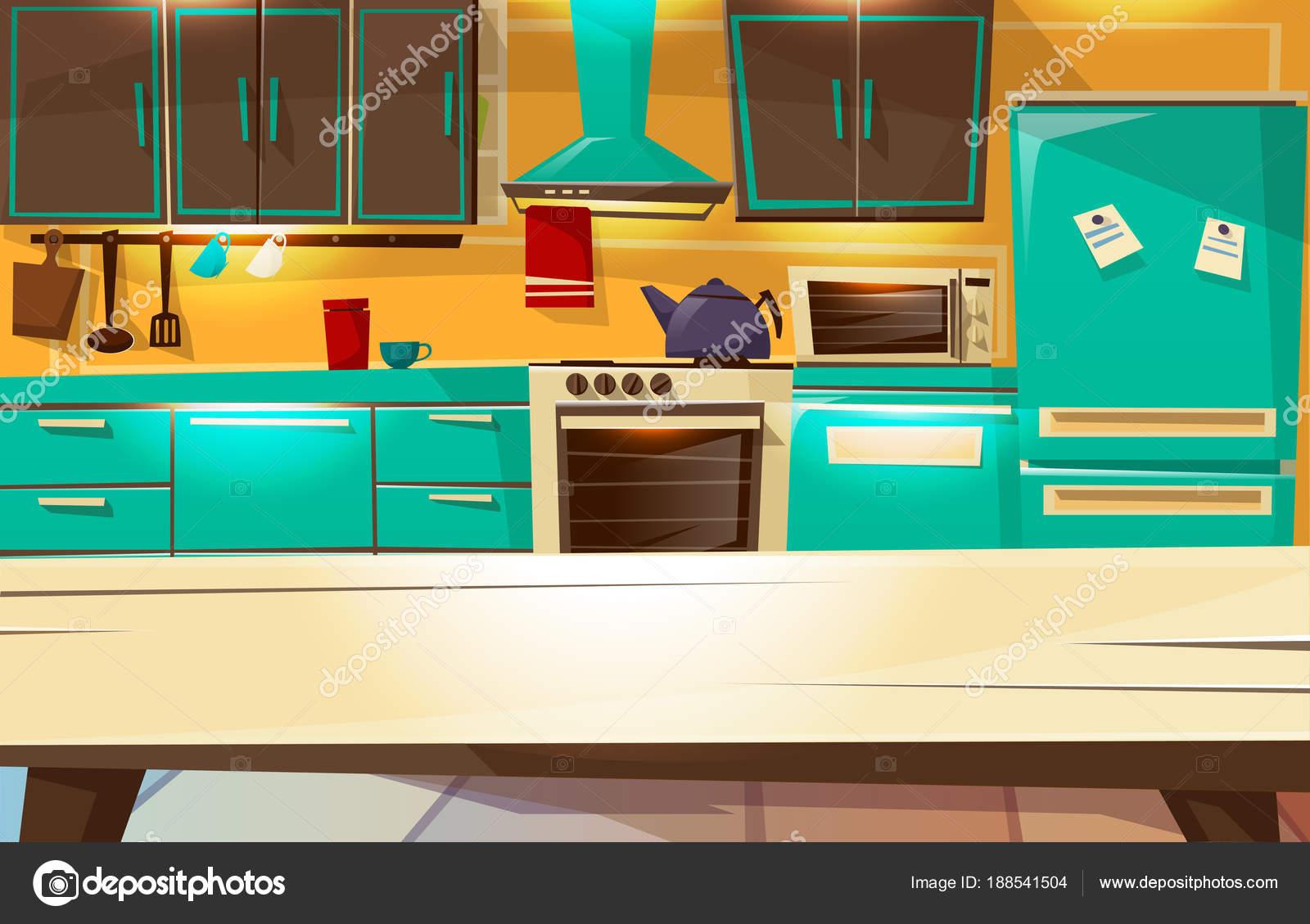 Ilustra O De Desenhos Animados De Vetor Cozinha Fundo Interior De