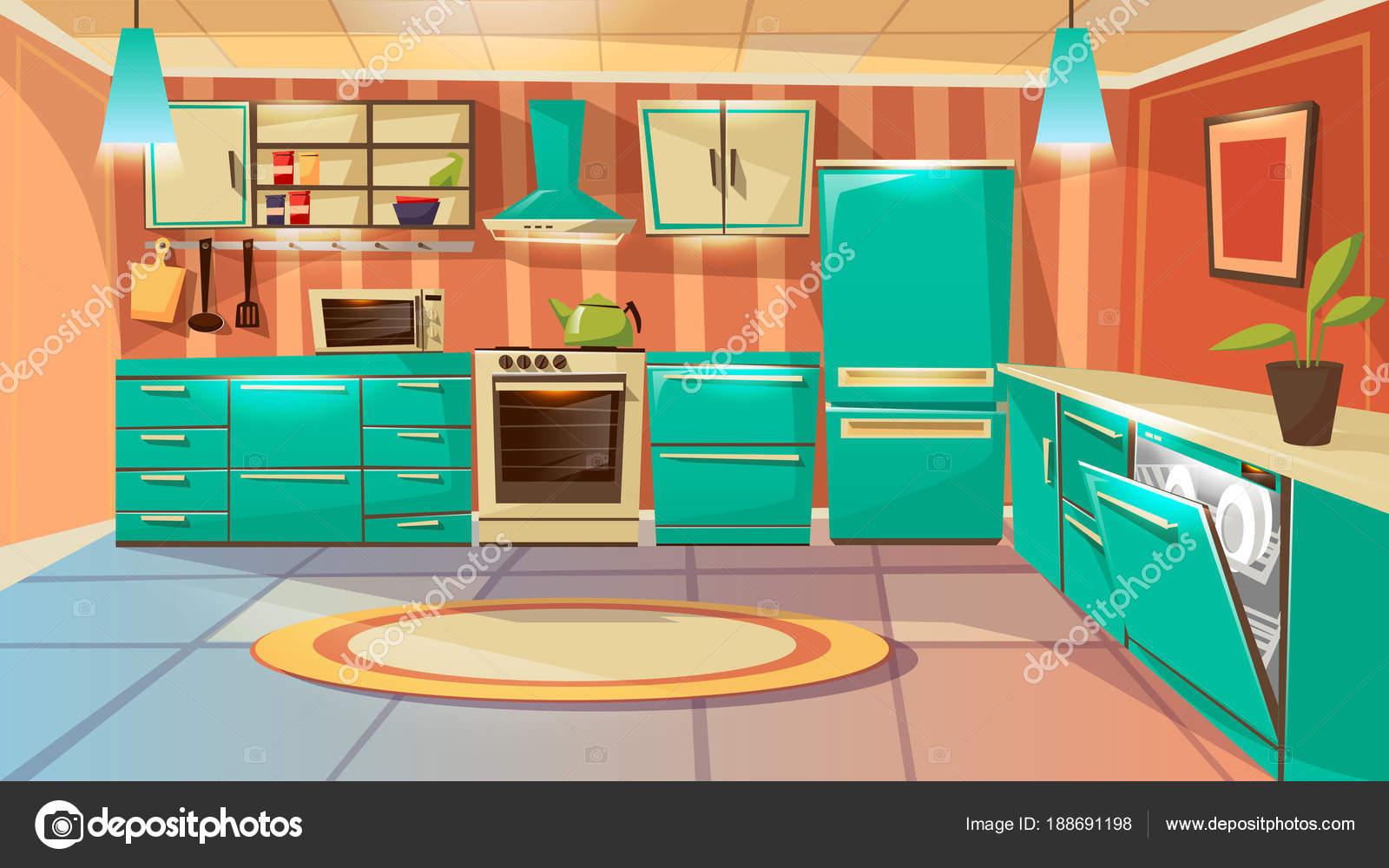 Foto cocina animada fondo interior de cocina de dibujos animados de vector vector de stock - Dibujos de cocina ...