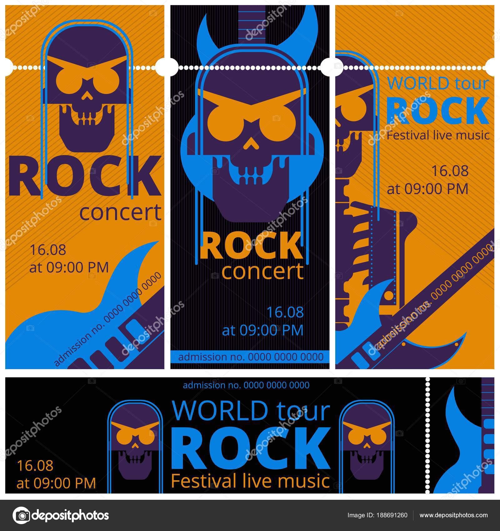 Entradas festival de música rock vector plantillas ilustración para ...