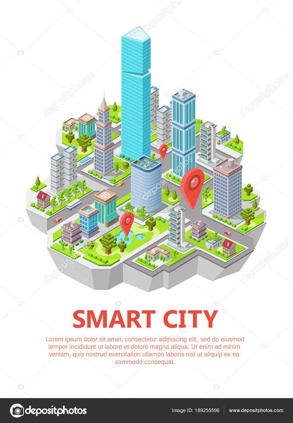 Isometric smart city vector illustration 3d residential