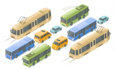 Isometric public and passenger transport vector illustration icons of modern buses, cars and tram or trolleybus