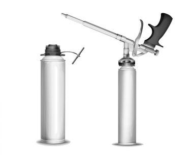 Construction foam bottle model vector illustration of 3D isolated realistic PU foam sprayer gun mockup mechanism