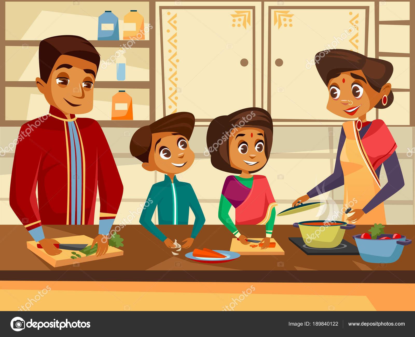 Vector Cartoon indische Familie Küchenkonzept — Stockvektor ...