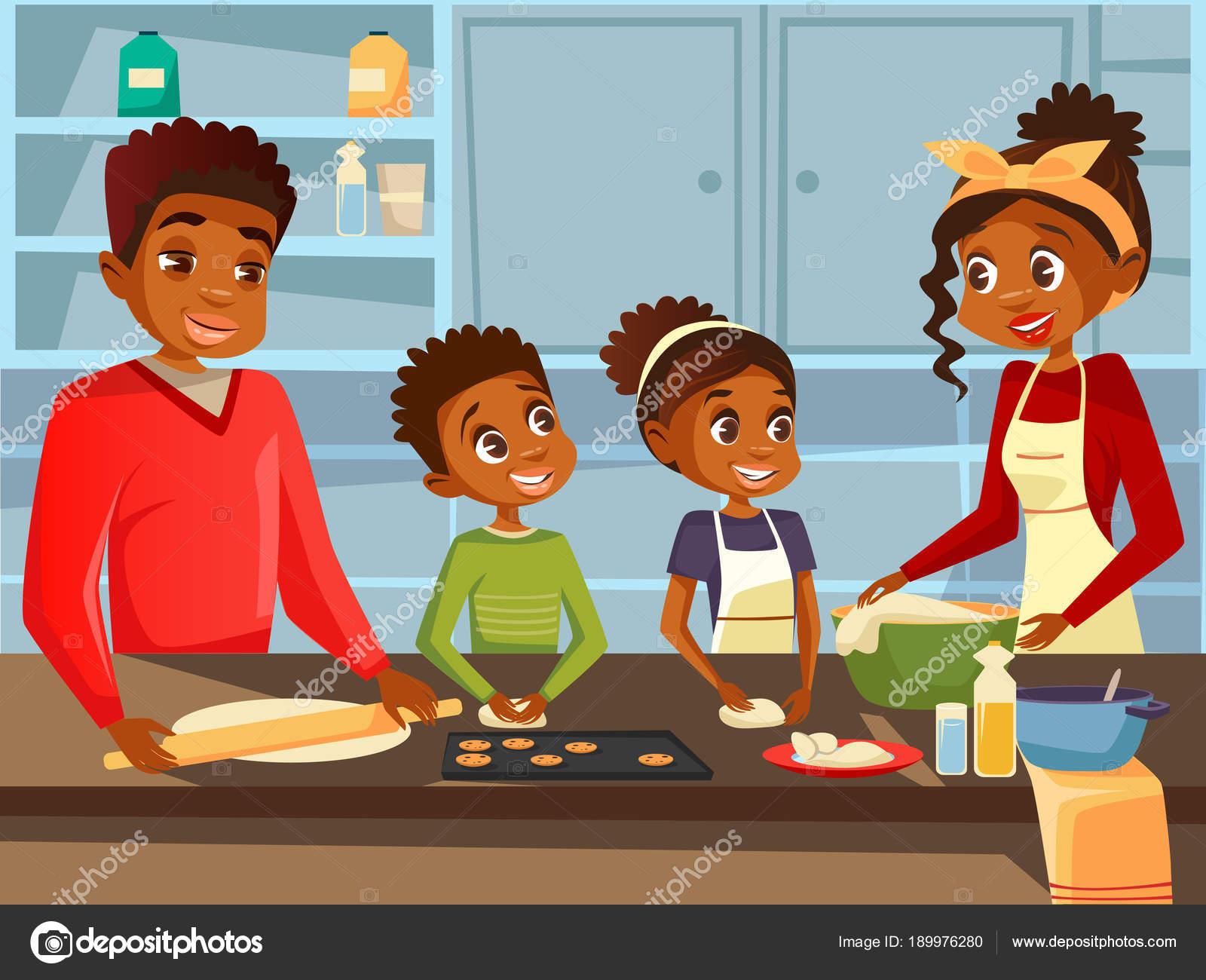 食品の食事を準備してアフリカ親子のキッチン ベクトル フラット漫画