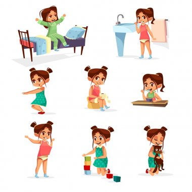 Vector cartoon girl daily routine activity set