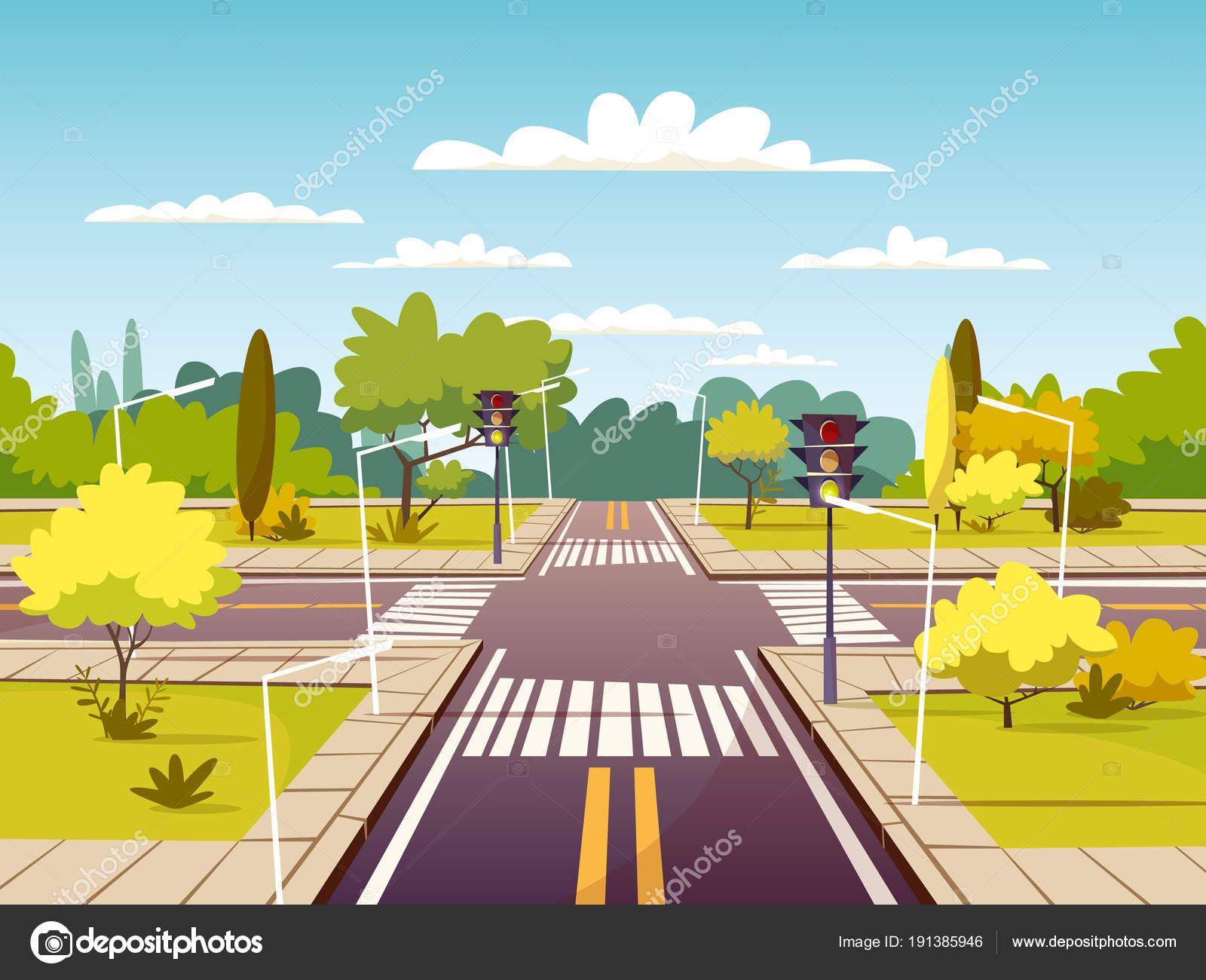 Straße Kreuzung Vektor-Cartoon-Illustration der Fahrspur und ...