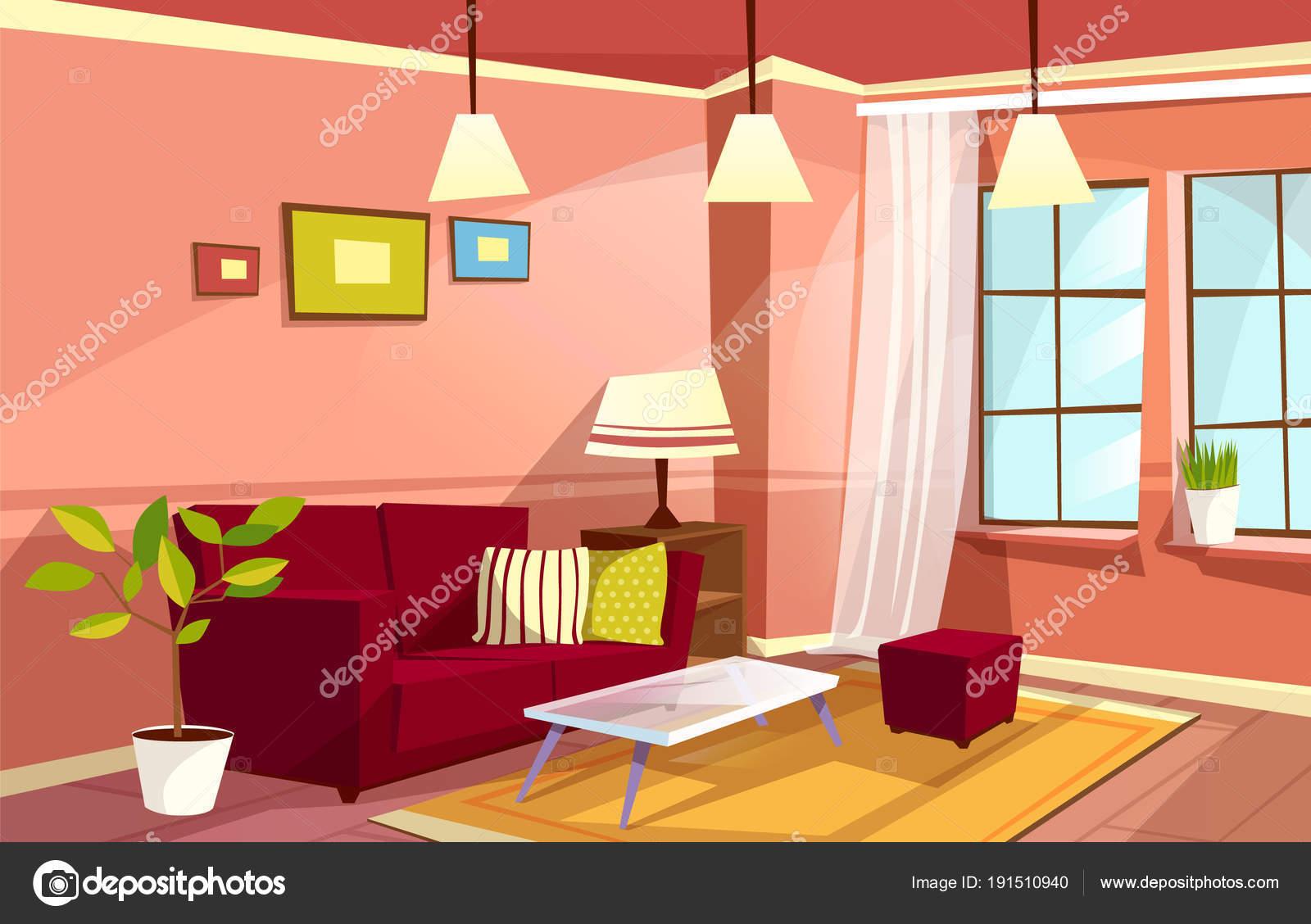Im genes una sala de una casa animada interior de vectores dibujos animados sal n apartamento for Cartoon picture of a living room