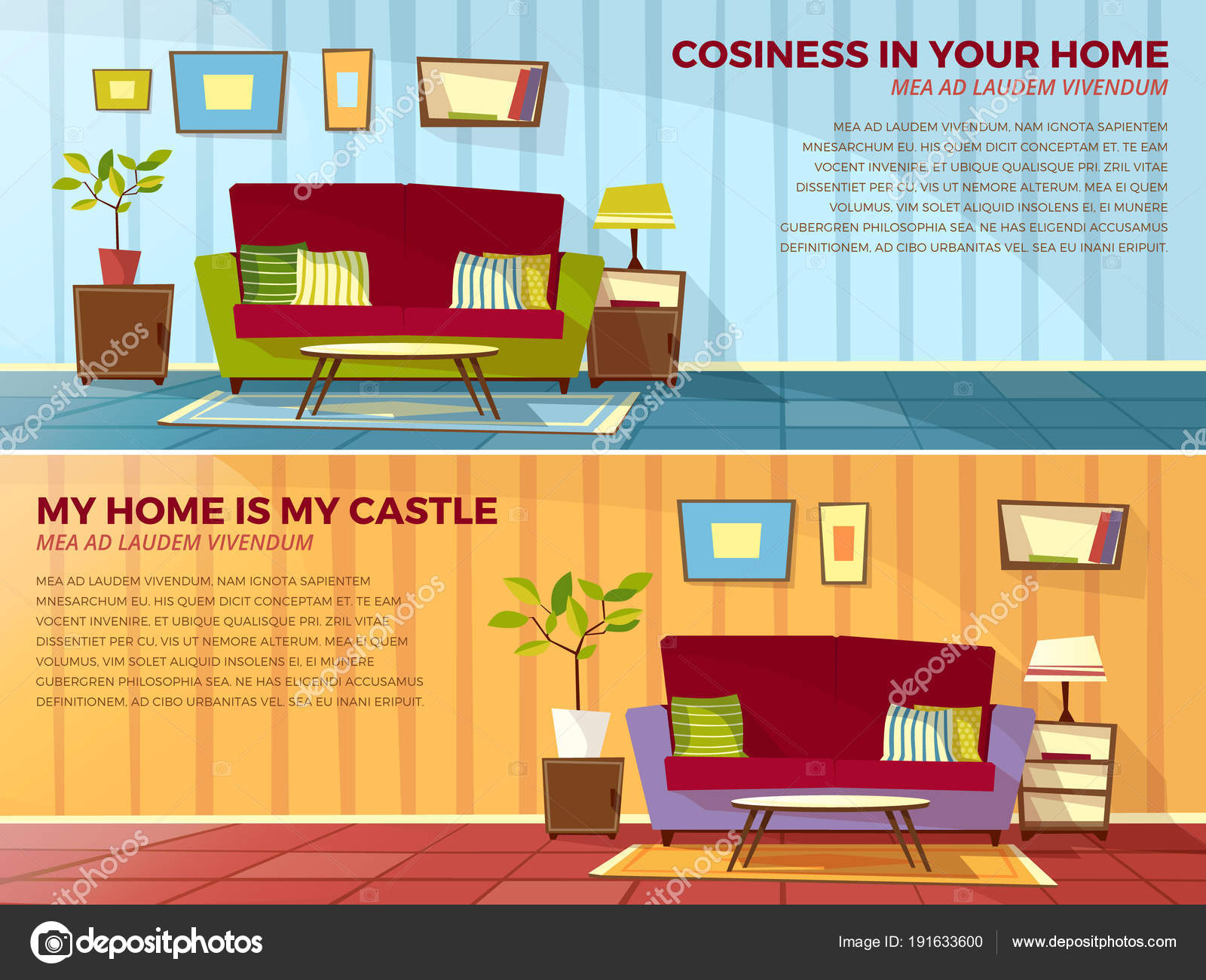 Room Interior Design Vector Cartoon Illustration Of Old Or Modern Apartments Living With Furniture