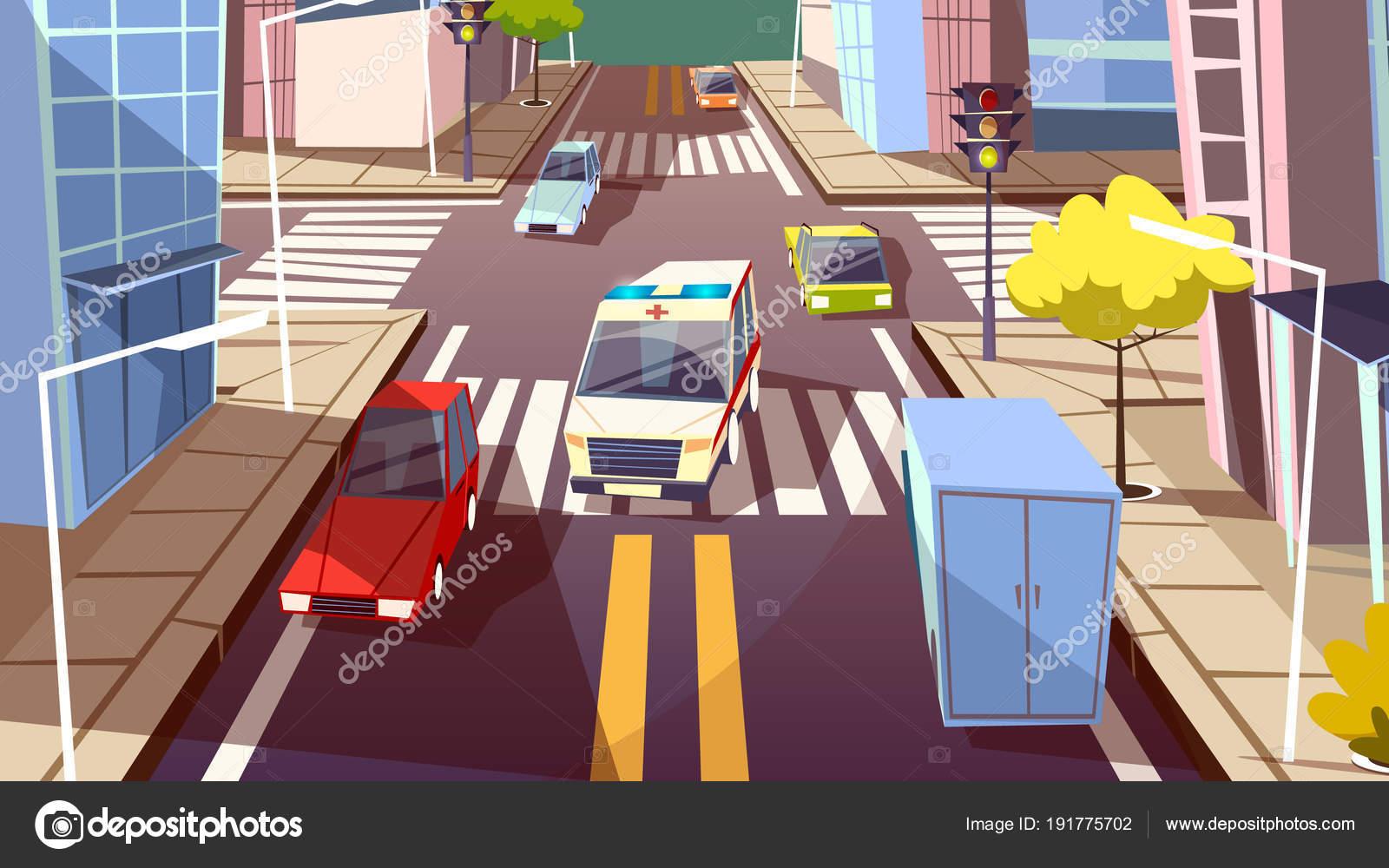 City street cars vector cartoon illustration of ambulance
