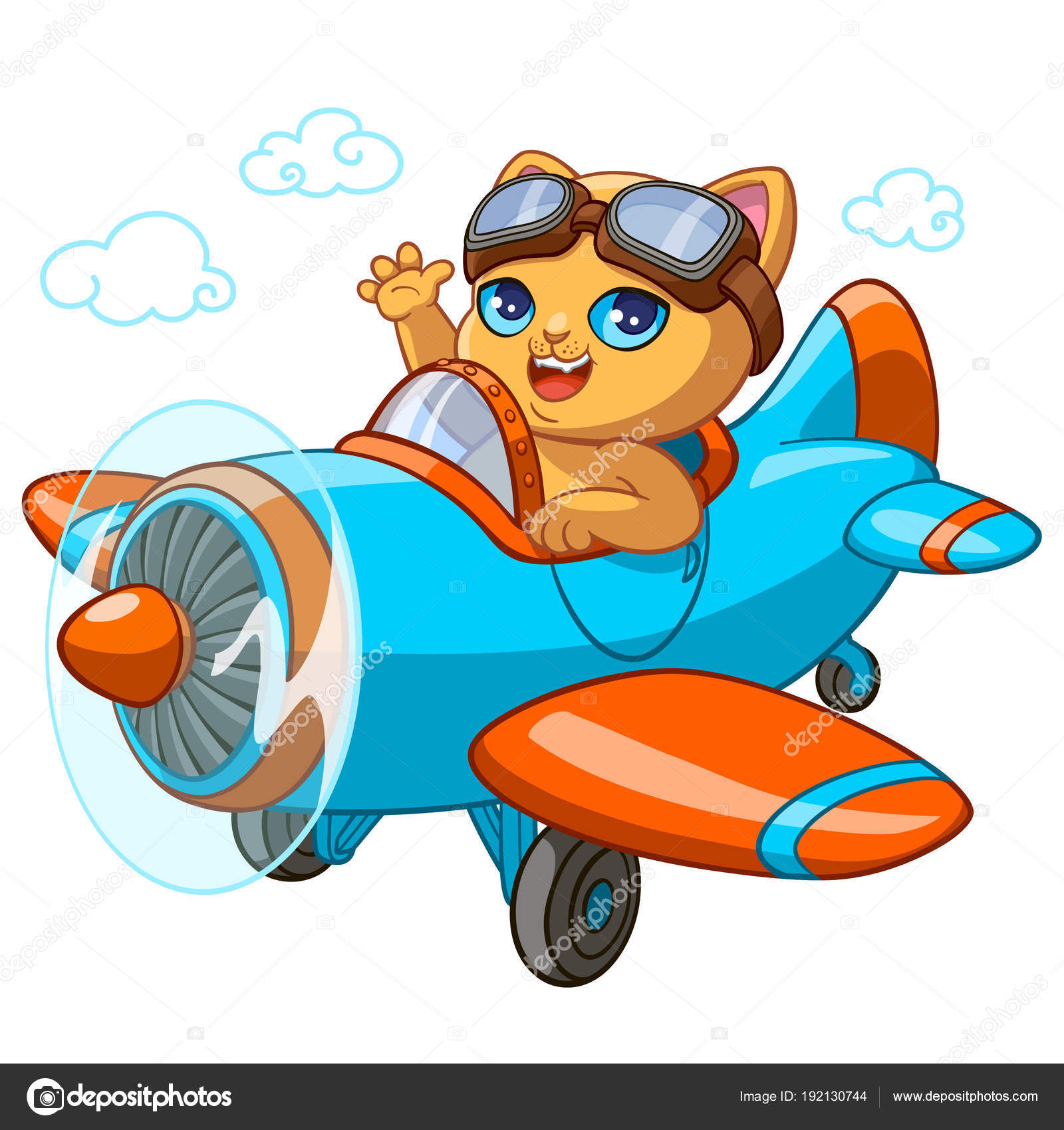 Kitty Pilot Cartoon Vector Illustration Of Kitten In Toy Airplane