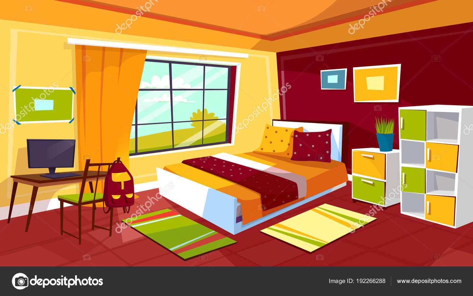Tiener slaapkamer cartoon vectorillustratie van tiener meisje of