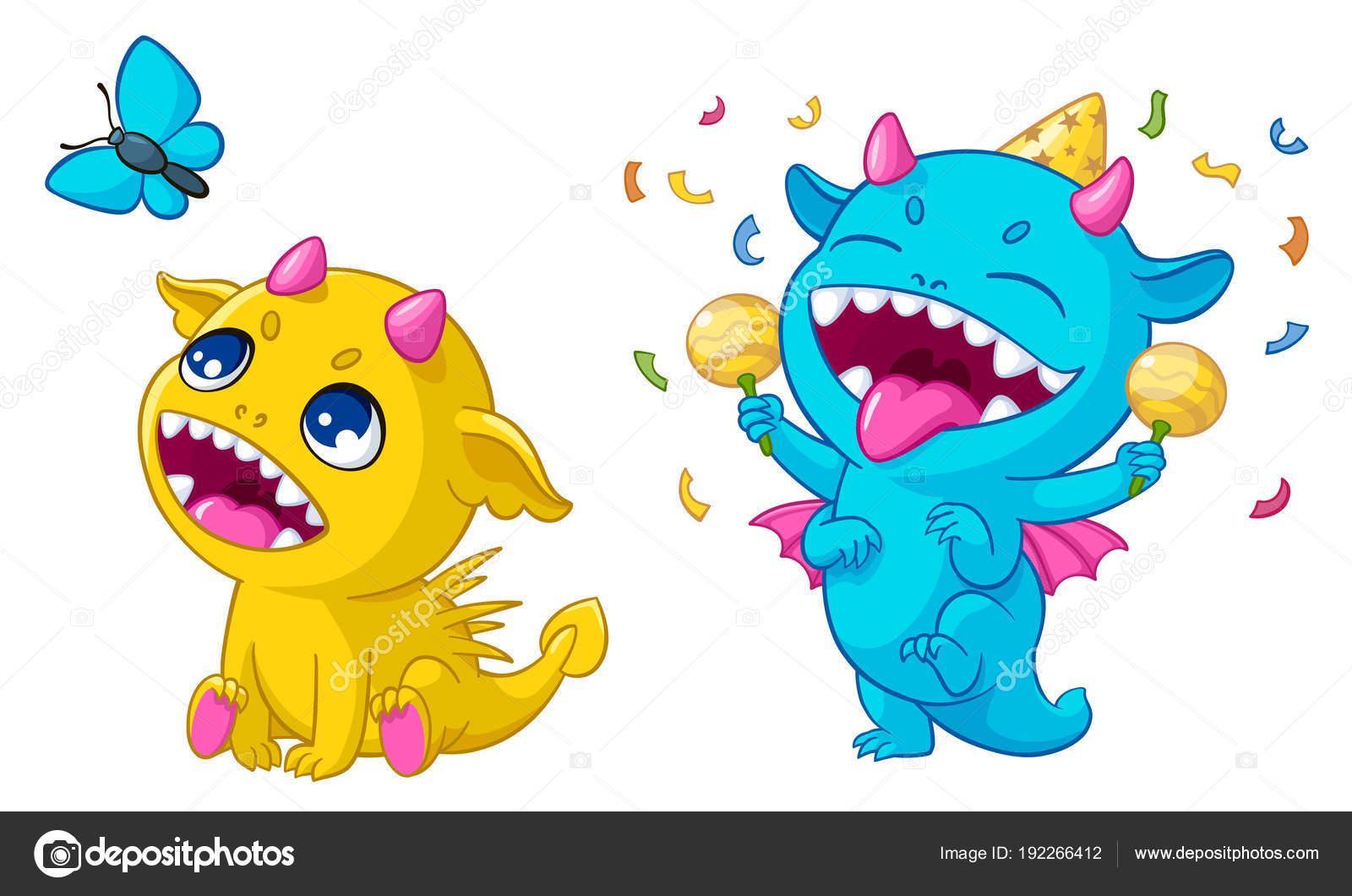 Dibujos animados de monstruos jugando vector ilustración de ...