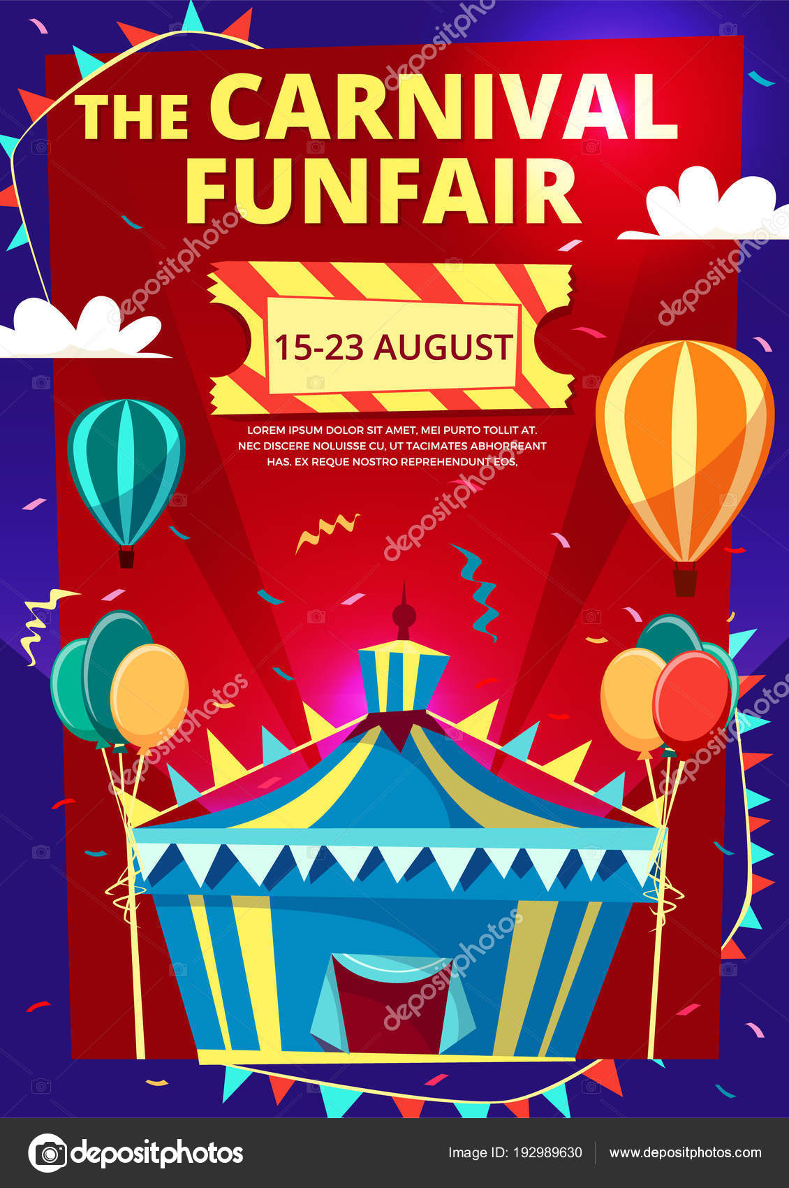 Carnival Funfair Vector Cartoon Illustration Of Circus Invitation