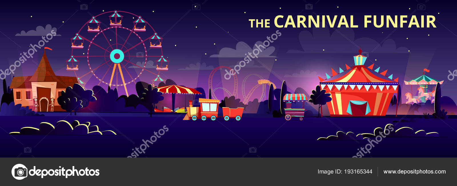Pretpark cartoon vectorillustratie van carnaval kermis \'s nachts met ...