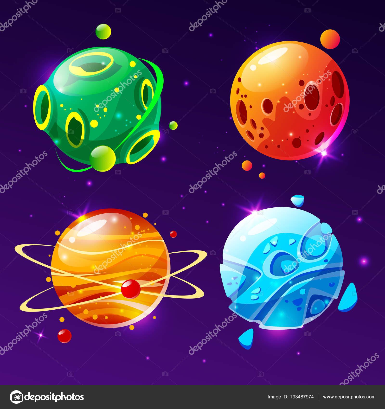 Vektor Kreslene Planety Pro Herni Design Sada Stock Vektor