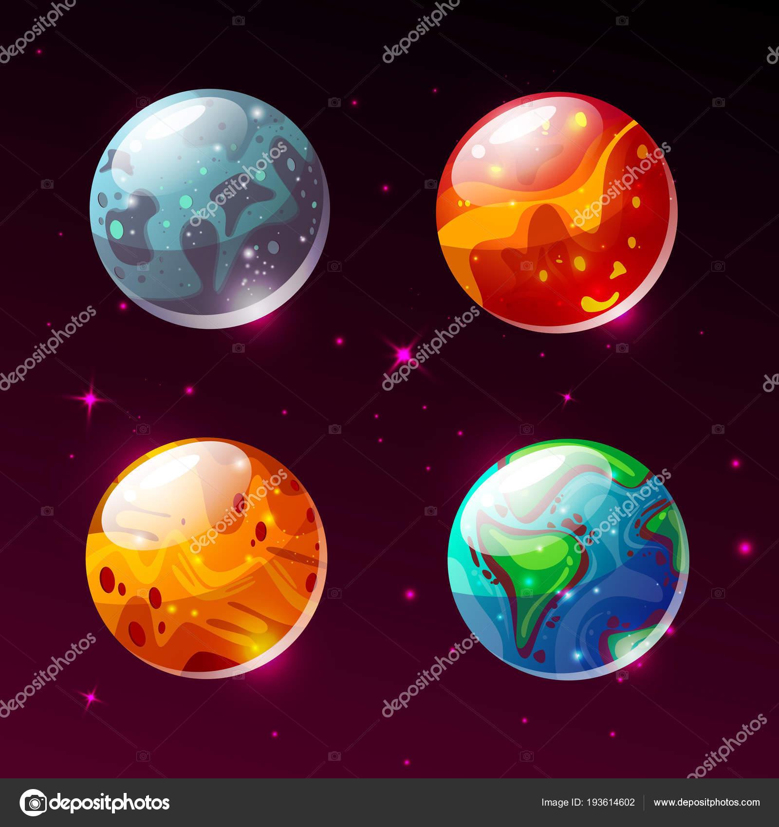 Planety Ve Vesmiru Galaxie Vektor Kreslene Ilustrace Stock Vektor