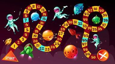 Board game astronauts in space vector cartoon illustration