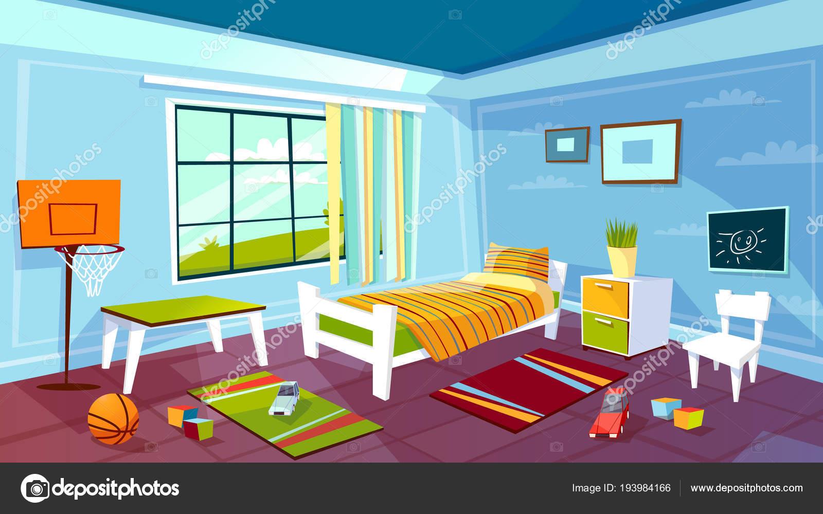 Camere Da Letto Giovani : Bambino camera vector fumetto del ragazzino ragazzo camera da