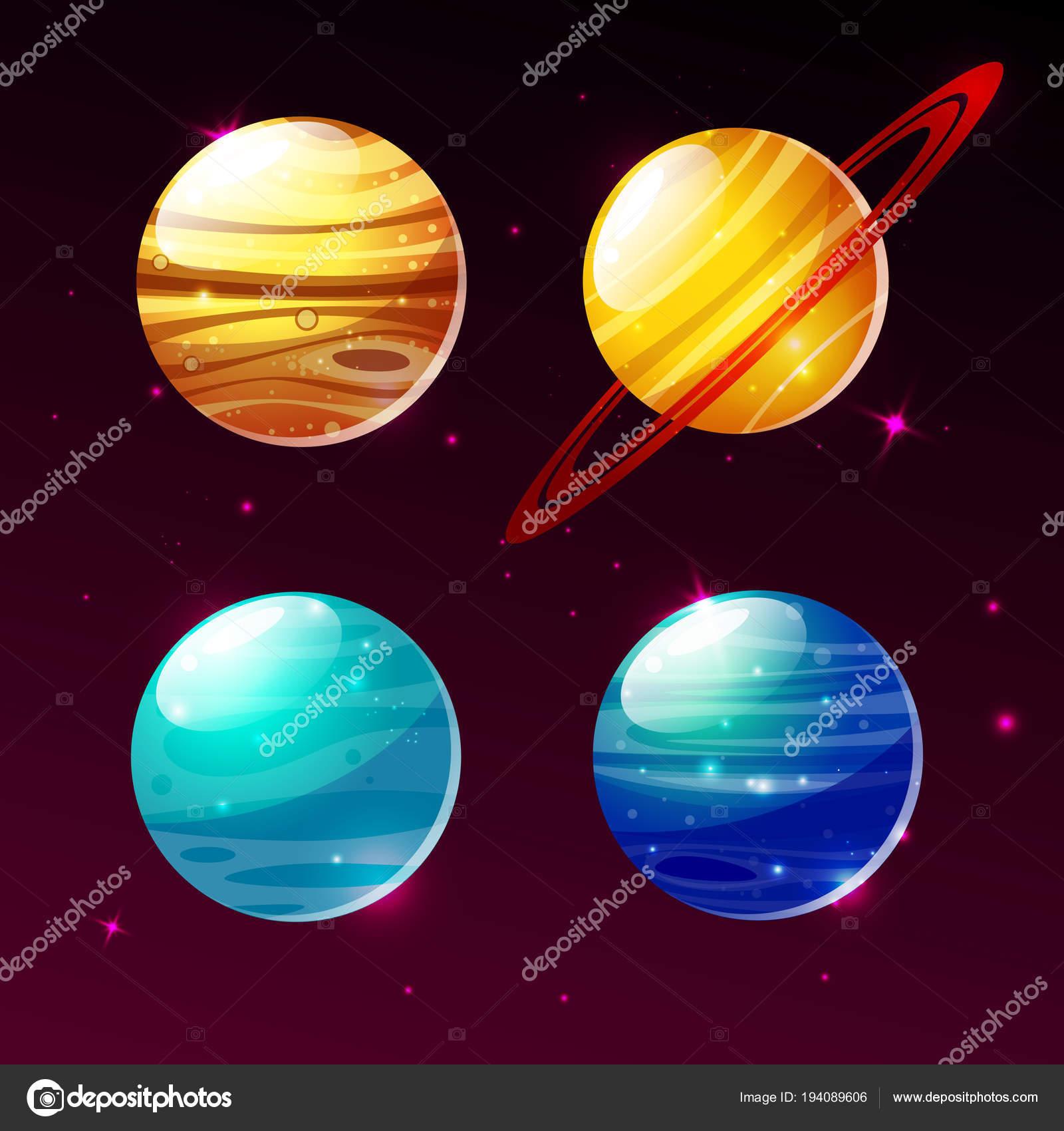 Planety Slunecni Soustavy V Prostoru Galaxie Vektor Kreslene