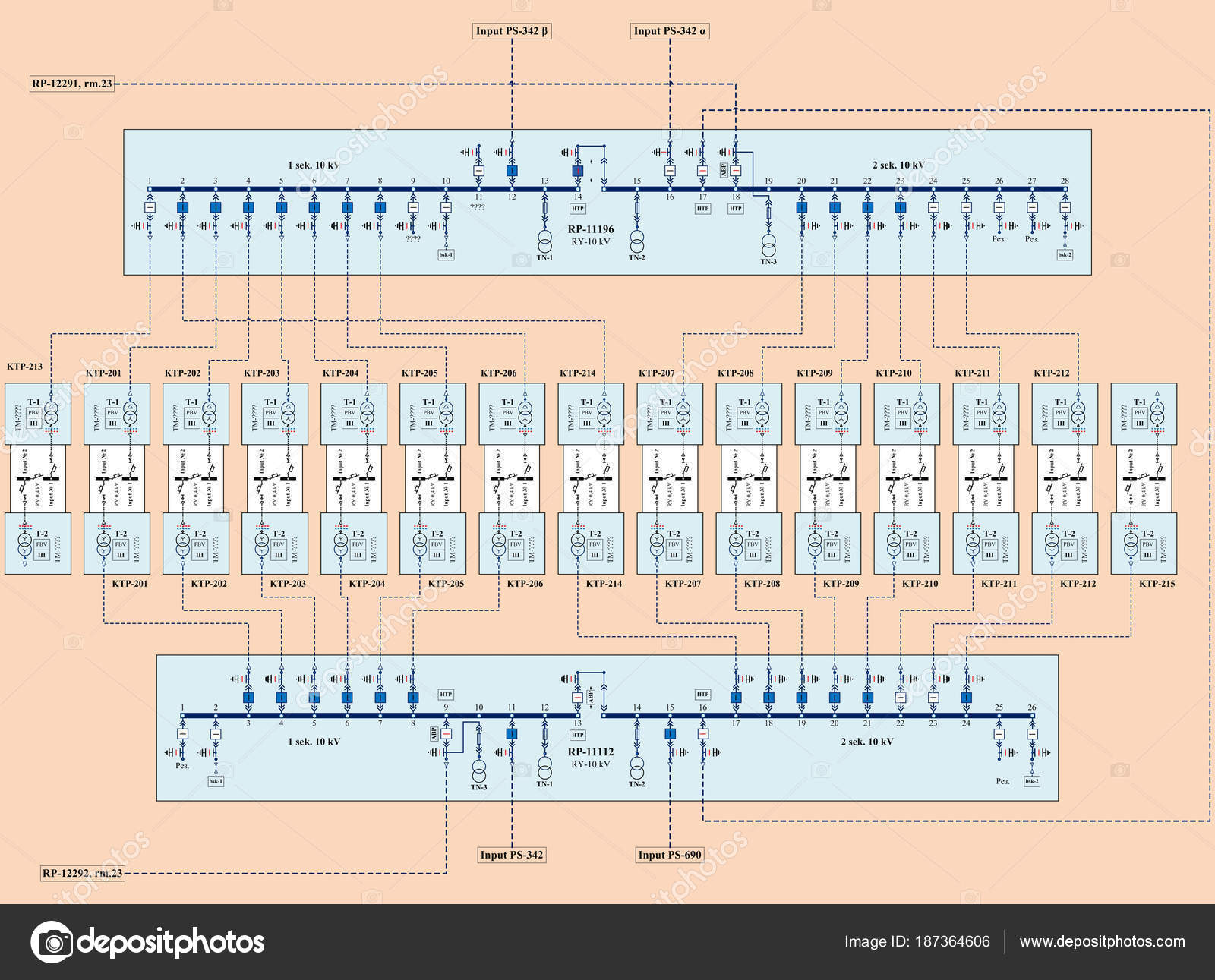 Electric Wiring Diagram Power Transformers — Stock Photo
