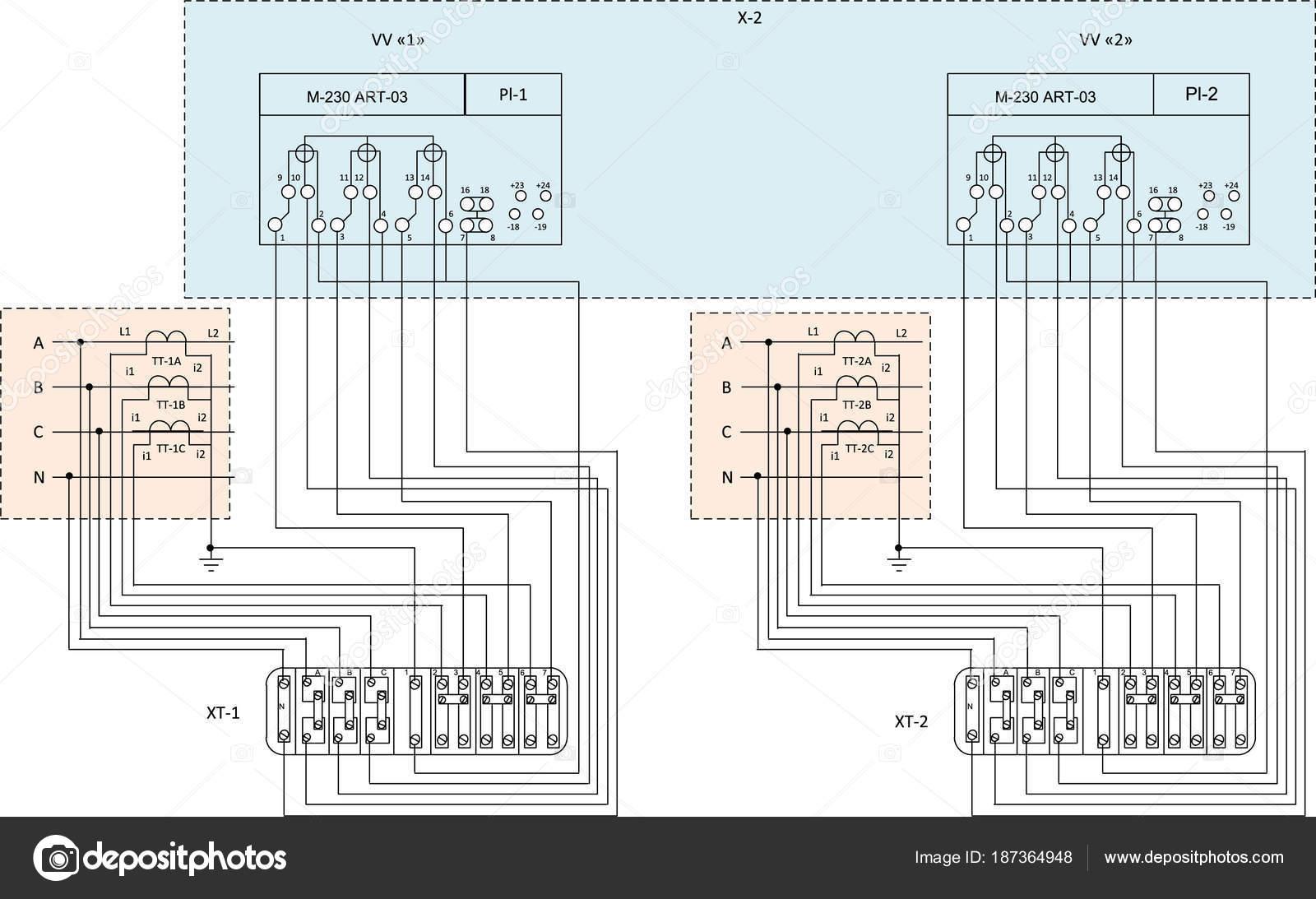 Elektrischer Schaltplan Mit Energiezähler U2014 Stockvektor