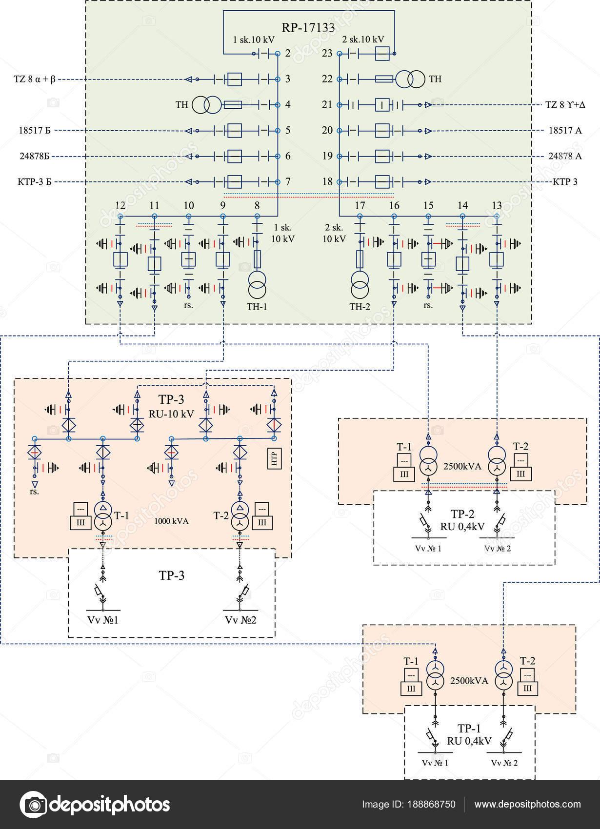 Elektrischer Schaltplan Für Leistungstransformatoren U2014 Stockvektor