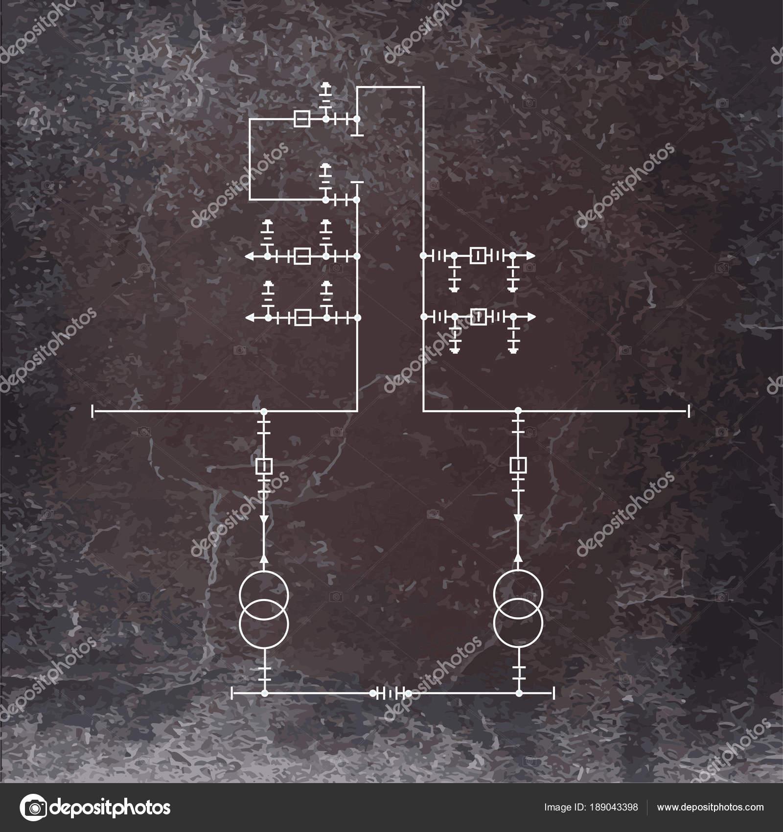 Elektrischer Schaltplan Für Leistungstransformatoren — Stockvektor ...