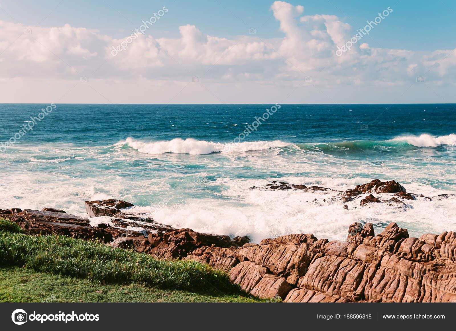 Ocean Beach Margate South Africa Blue Sky White Clouds