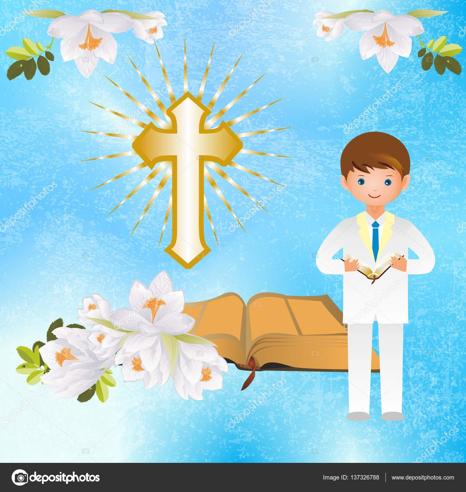 First holy communion stock vector rodzynka 137326788 religious background with boy and symbols of holy communion vector by rodzynka buycottarizona Image collections