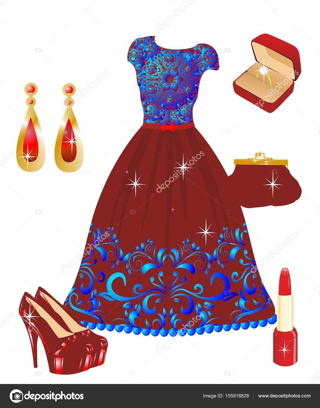 7008bea4a6b22d Rode jurk met kant — Stockvector © rodzynka  155918828