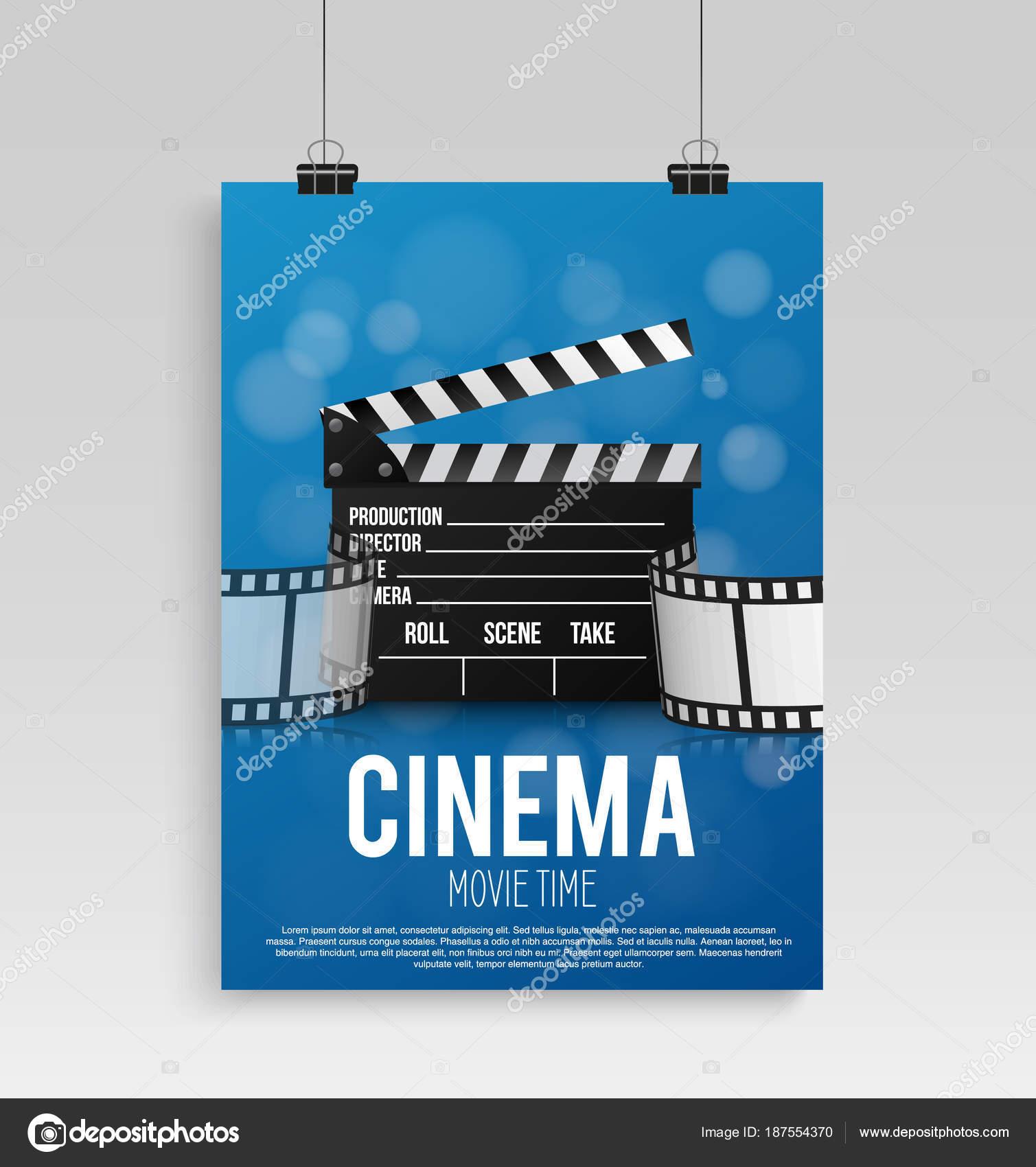 Cartel de cine realista de azul en un marco con una foto colgada en ...
