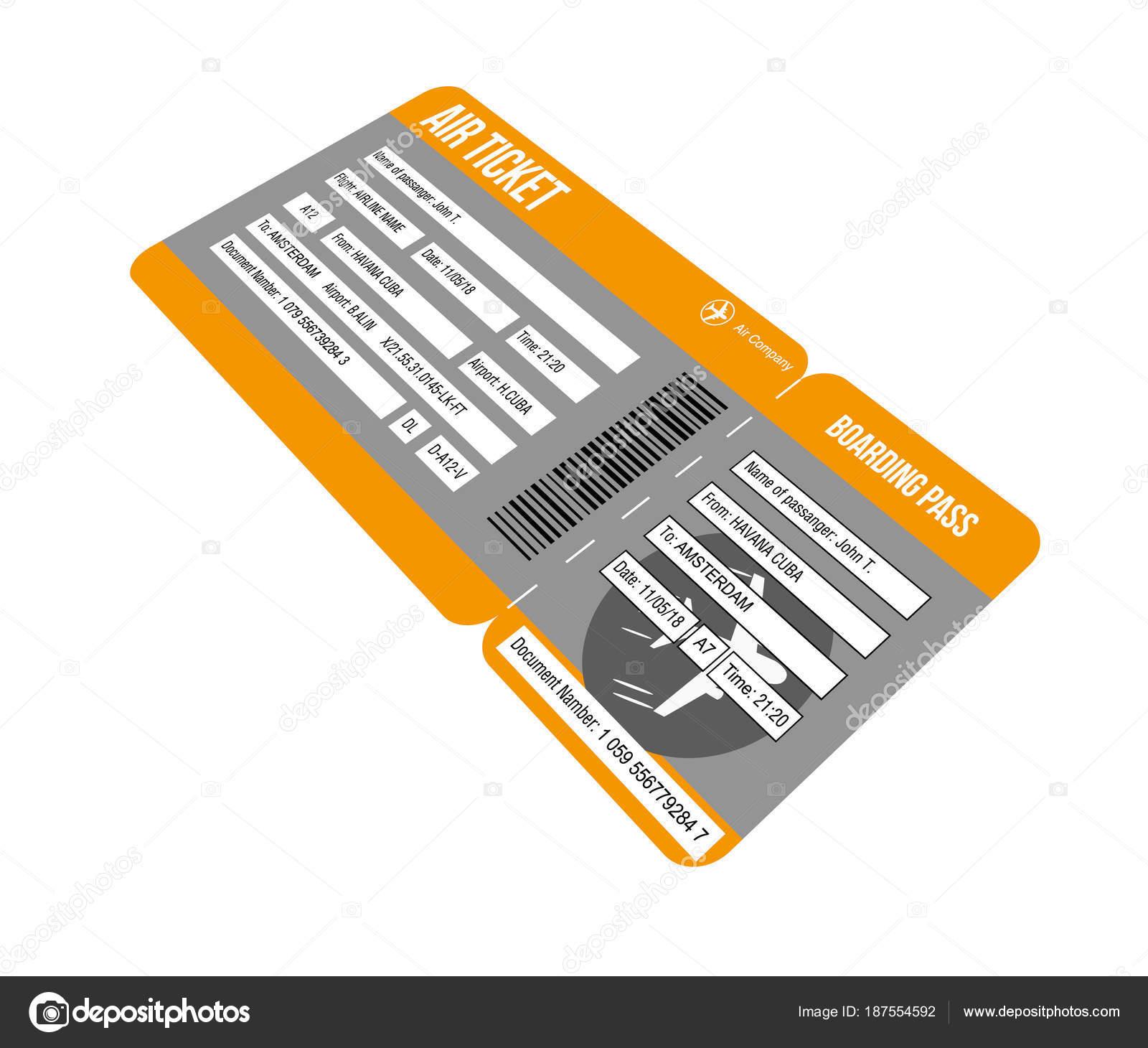 Flugticket. Boarding Pass Tickets Vorlage isoliert auf weißem ...