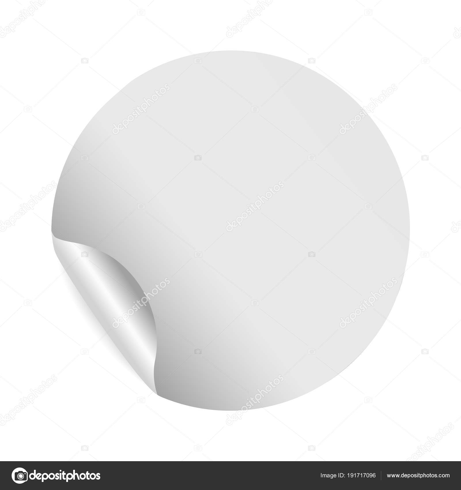 Realistic blank round paper sticker template with bent edge on white ...