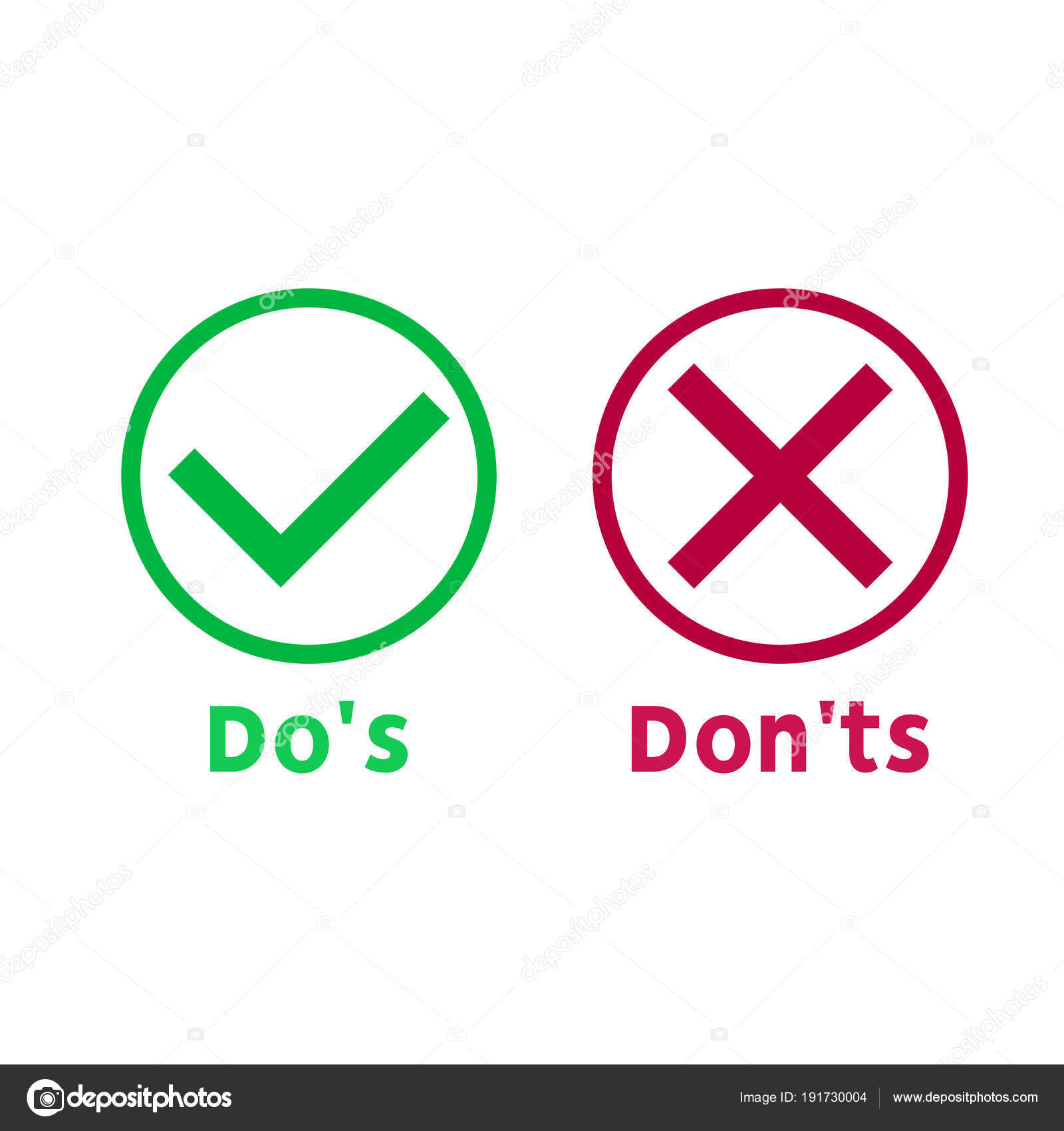 Simple Dos And Donts Like Checklist Flat Graphic Outline Design