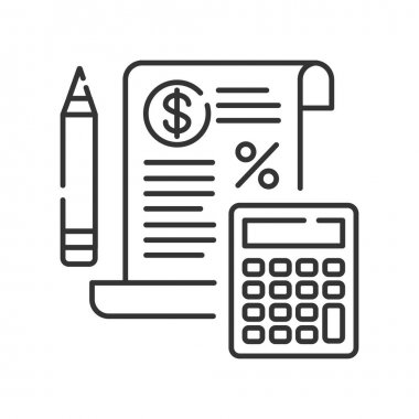 Tax government calculation  black line icon. Report and financial statements. Bookkeeping and accounting.