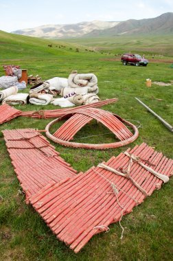 Kazakhstan in July 2014 construction of the yurt. a circular tent of felt or skins on a collapsible framework, used by nomads in Mongolia, Kazakhstan, and Turkey.
