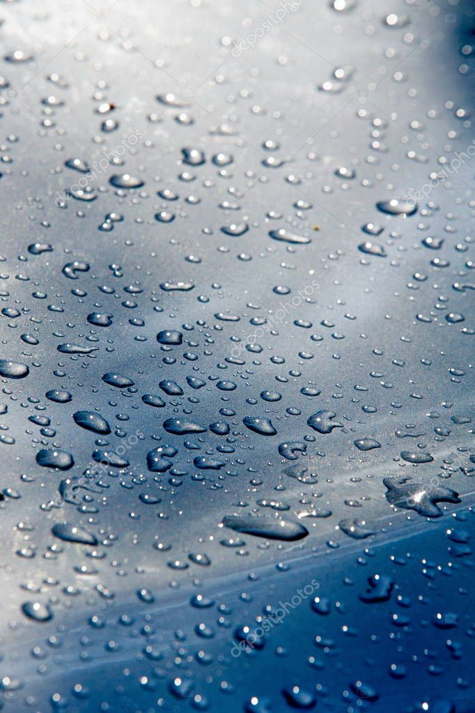 Texture background. raindrops on paintwork. Precipitation in the form of water droplets.