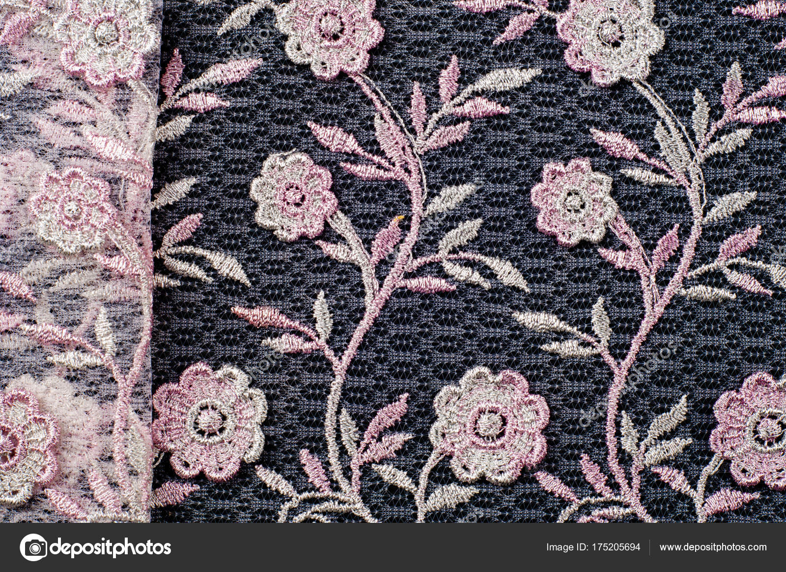 Texture Background Pattern Pink Lace Decorated With Flowers O